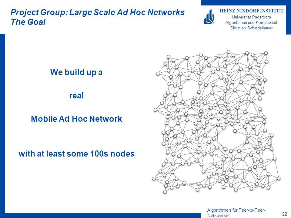Algorithmen für Peer-to-Peer- Netzwerke 22 HEINZ NIXDORF INSTITUT Universität Paderborn Algorithmen und Komplexität Christian Schindelhauer Project Gr