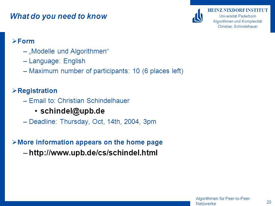 Algorithmen für Peer-to-Peer- Netzwerke 25 HEINZ NIXDORF INSTITUT Universität Paderborn Algorithmen und Komplexität Christian Schindelhauer What do yo