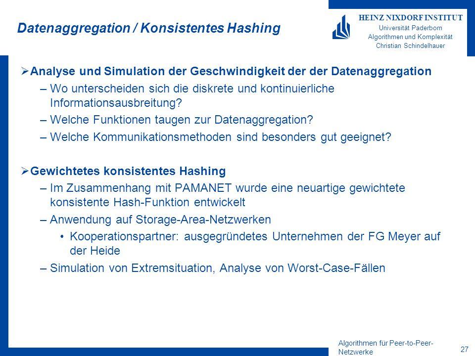 Algorithmen für Peer-to-Peer- Netzwerke 27 HEINZ NIXDORF INSTITUT Universität Paderborn Algorithmen und Komplexität Christian Schindelhauer Datenaggre