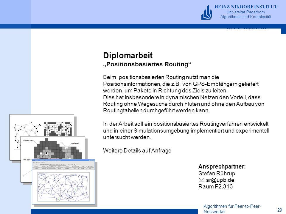 Algorithmen für Peer-to-Peer- Netzwerke 29 HEINZ NIXDORF INSTITUT Universität Paderborn Algorithmen und Komplexität Christian Schindelhauer HEINZ NIXD