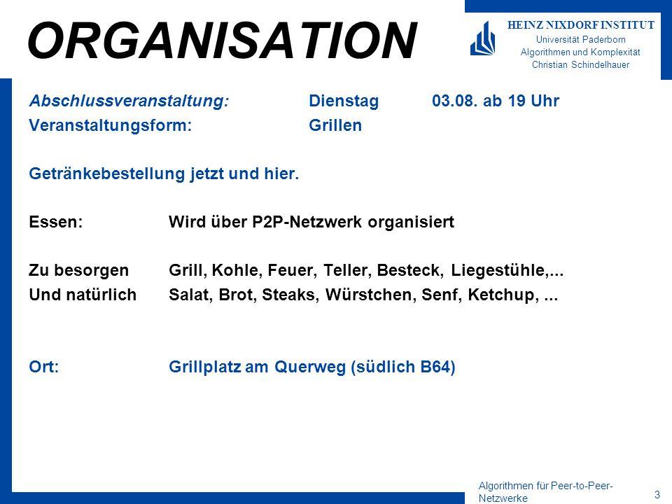Algorithmen für Peer-to-Peer- Netzwerke 3 HEINZ NIXDORF INSTITUT Universität Paderborn Algorithmen und Komplexität Christian Schindelhauer ORGANISATIO