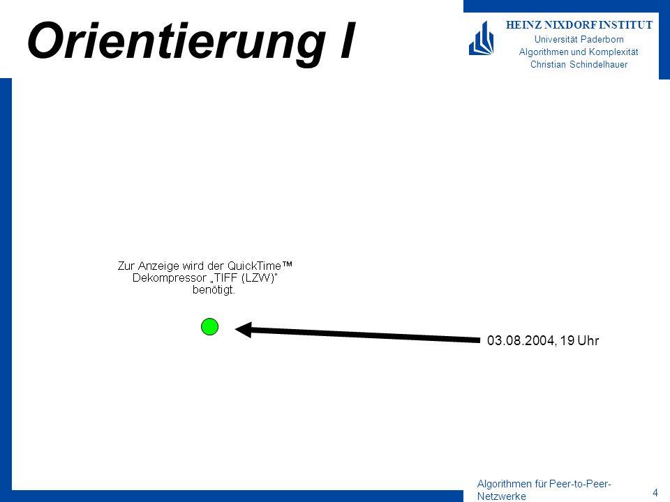 Algorithmen für Peer-to-Peer- Netzwerke 5 HEINZ NIXDORF INSTITUT Universität Paderborn Algorithmen und Komplexität Christian Schindelhauer Orientierung II 03.08.2004, 19 Uhr