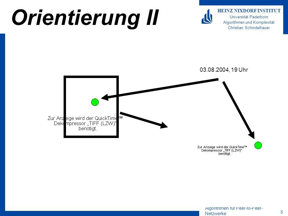 Algorithmen für Peer-to-Peer- Netzwerke 16 HEINZ NIXDORF INSTITUT Universität Paderborn Algorithmen und Komplexität Christian Schindelhauer Mobile Ad-hoc-Netzwerke für W-LAN Implementierung von PaMANet (Paderborn Mobile Ad-hoc-Network) Skalierendes Mobiles Ad-hoc-Netzwerk mit integrierter verteilter Peer-to-Peer Datenbank –Multi-Hop auf Linux über W-LAN IEEE 802.11 –Konsistentes Hashing –Landmark-Routing –XML-basiertes Peer-to-Peer-Netzwerk mit Query-and-Caches Operation zur Verkehrsminimierung –Kompensation von Dynamik und Mobilität durch Kantengewichtung Implementierung bis Herbst 2004 Entwurf paralleler Systeme –Prof.