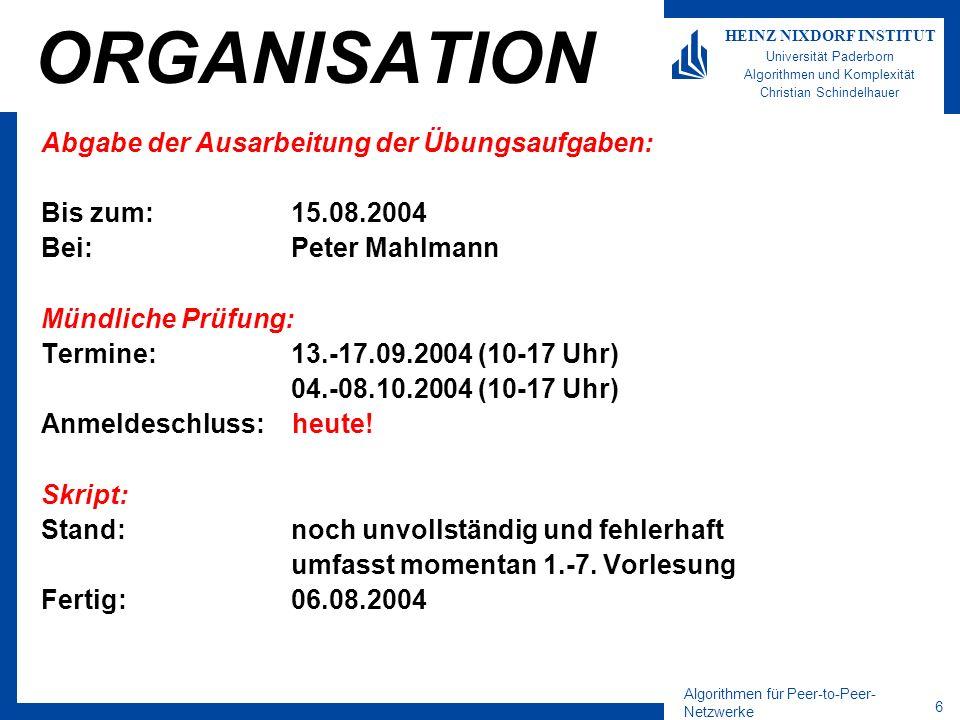 Algorithmen für Peer-to-Peer- Netzwerke 6 HEINZ NIXDORF INSTITUT Universität Paderborn Algorithmen und Komplexität Christian Schindelhauer ORGANISATIO