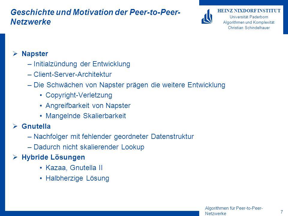 Algorithmen für Peer-to-Peer- Netzwerke 28 HEINZ NIXDORF INSTITUT Universität Paderborn Algorithmen und Komplexität Christian Schindelhauer Mobile Ad-Hoc-Netzwerke Studienarbeit/Diplomarbeit (in Zusammenarbeit mit AG Rückert) –Mobile Datenstrukturen für Ad-Hoc-Netzwerke –Transport-Protokolle für Ad-Hoc-Netzwerke –Routing-Algorithmen für Ad-Hoc-Netzwerke Sensor-Netzwerke (in Zusammenarbeit mit AG Hilleringmann) –Spezifikation einer Sensornetzwerk-Zentralstation –Simulation eines verteilten Sensornetzwerk-Protokolls Das Paderborn Mobile Ad-Hoc-Network –Schaffung einer Open-Source-Plattform für PAMANET –Simulation, Analyse und Verbesserung der Distanzmetrik von PAMANET