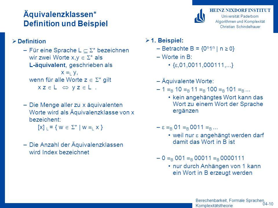 Berechenbarkeit, Formale Sprachen, Komplexitätstheorie 04-10 HEINZ NIXDORF INSTITUT Universität Paderborn Algorithmen und Komplexität Christian Schind