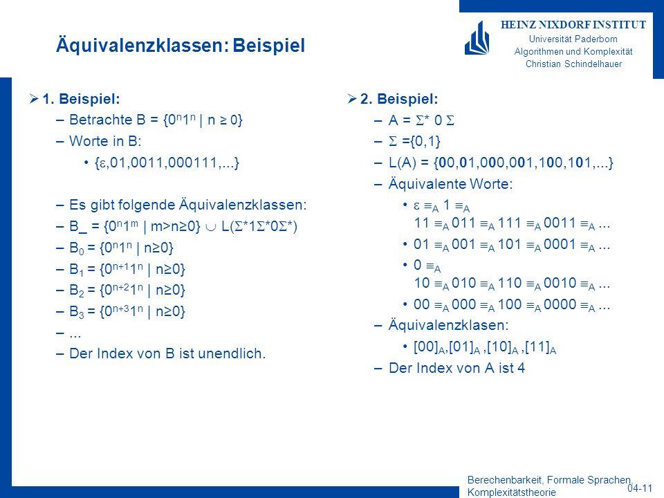 Berechenbarkeit, Formale Sprachen, Komplexitätstheorie 04-11 HEINZ NIXDORF INSTITUT Universität Paderborn Algorithmen und Komplexität Christian Schind