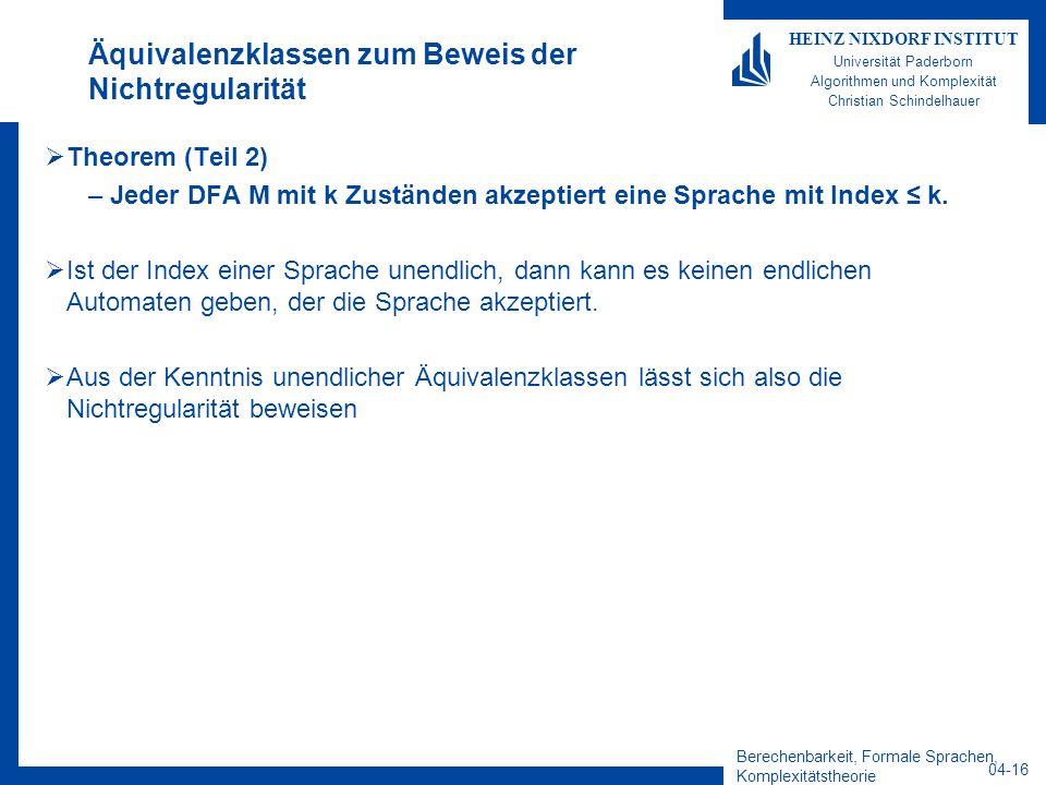 Berechenbarkeit, Formale Sprachen, Komplexitätstheorie 04-16 HEINZ NIXDORF INSTITUT Universität Paderborn Algorithmen und Komplexität Christian Schind