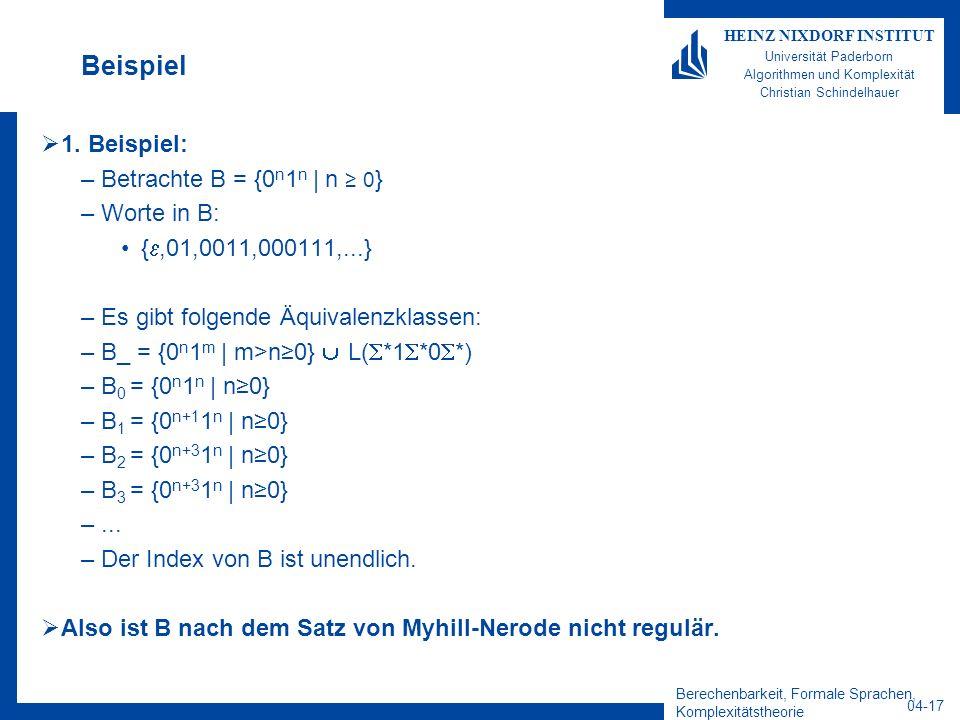 Berechenbarkeit, Formale Sprachen, Komplexitätstheorie 04-17 HEINZ NIXDORF INSTITUT Universität Paderborn Algorithmen und Komplexität Christian Schind