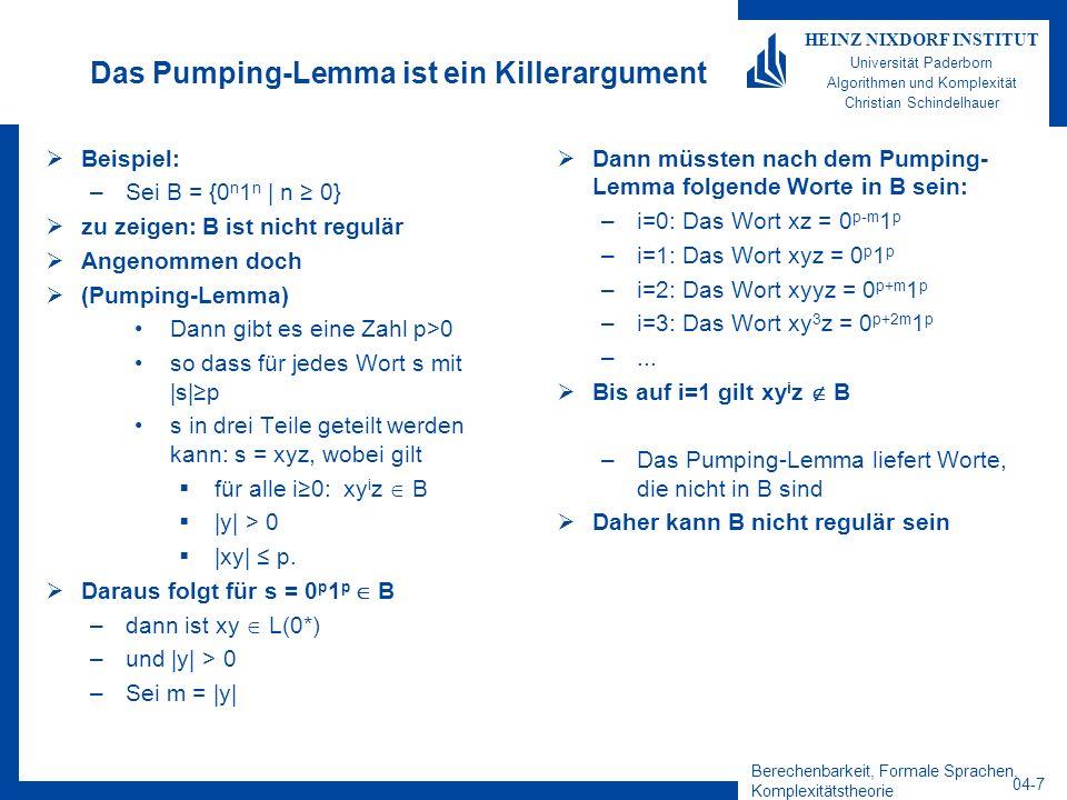 Berechenbarkeit, Formale Sprachen, Komplexitätstheorie 04-7 HEINZ NIXDORF INSTITUT Universität Paderborn Algorithmen und Komplexität Christian Schinde