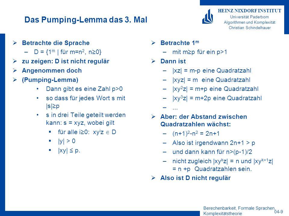 Berechenbarkeit, Formale Sprachen, Komplexitätstheorie 04-9 HEINZ NIXDORF INSTITUT Universität Paderborn Algorithmen und Komplexität Christian Schinde