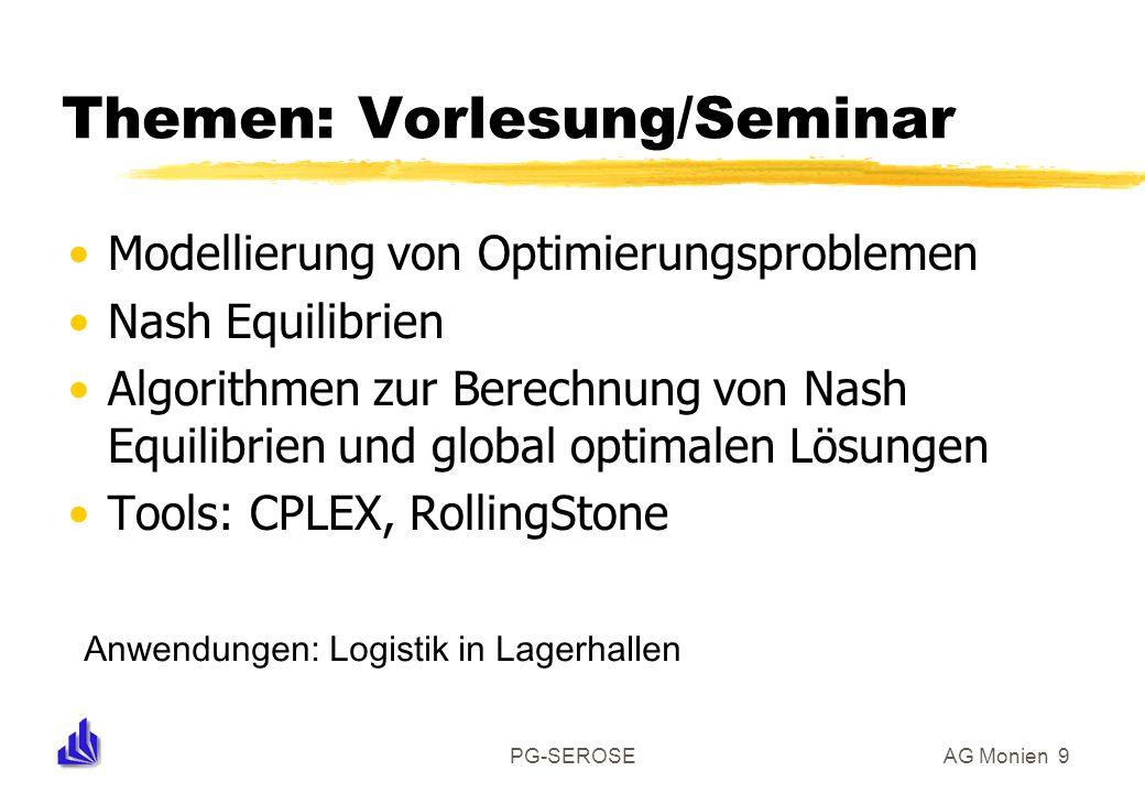 PG-SEROSEAG Monien 9 Themen: Vorlesung/Seminar Modellierung von Optimierungsproblemen Nash Equilibrien Algorithmen zur Berechnung von Nash Equilibrien