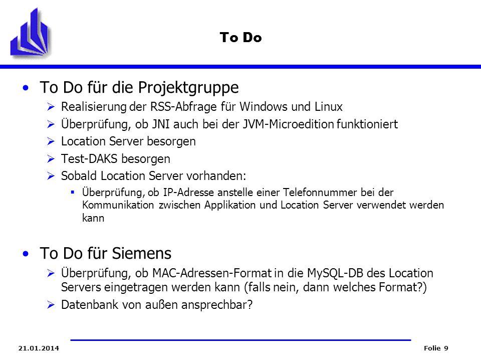 Folie 921.01.2014 To Do To Do für die Projektgruppe Realisierung der RSS-Abfrage für Windows und Linux Überprüfung, ob JNI auch bei der JVM-Microediti