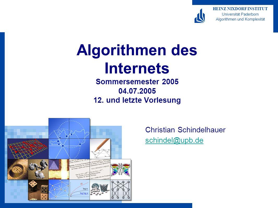 Algorithmen des Internets 2005-11 HEINZ NIXDORF INSTITUT Universität Paderborn Algorithmen und Komplexität Christian Schindelhauer 52 Ergebnis SIR-Modell SIR-Modell: Ein δ Anteil aller Infizierten wird immun –s(t+1)= s(t) – ß i(t) s(t) –i(t+1)= i(t) – δ i(t) + ß i(t) s(t) –r(t+1)= r(t) + δ i(t) Je nach Parameter wird ein gewisser Anteil aller Infiziert –jedoch nicht notwendigerweise alle Führt in jedem Fall zu einem Gleichgewichtszustand