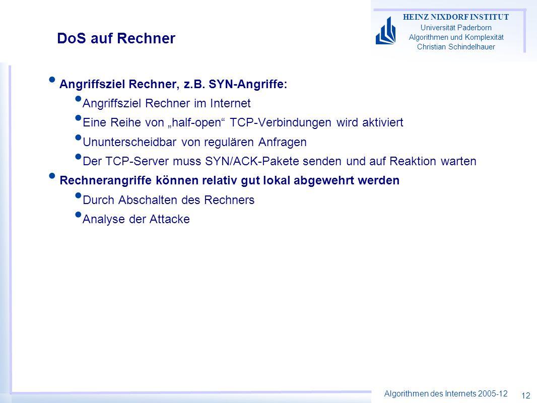 Algorithmen des Internets 2005-12 HEINZ NIXDORF INSTITUT Universität Paderborn Algorithmen und Komplexität Christian Schindelhauer 12 DoS auf Rechner Angriffsziel Rechner, z.B.