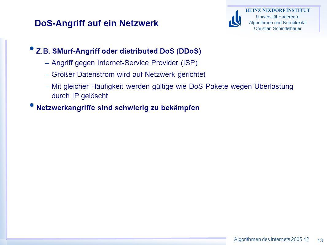Algorithmen des Internets 2005-12 HEINZ NIXDORF INSTITUT Universität Paderborn Algorithmen und Komplexität Christian Schindelhauer 13 DoS-Angriff auf ein Netzwerk Z.B.