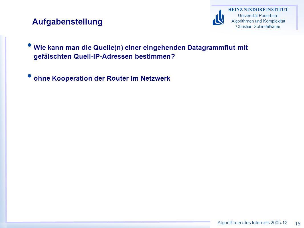 Algorithmen des Internets 2005-12 HEINZ NIXDORF INSTITUT Universität Paderborn Algorithmen und Komplexität Christian Schindelhauer 15 Aufgabenstellung Wie kann man die Quelle(n) einer eingehenden Datagrammflut mit gefälschten Quell-IP-Adressen bestimmen.