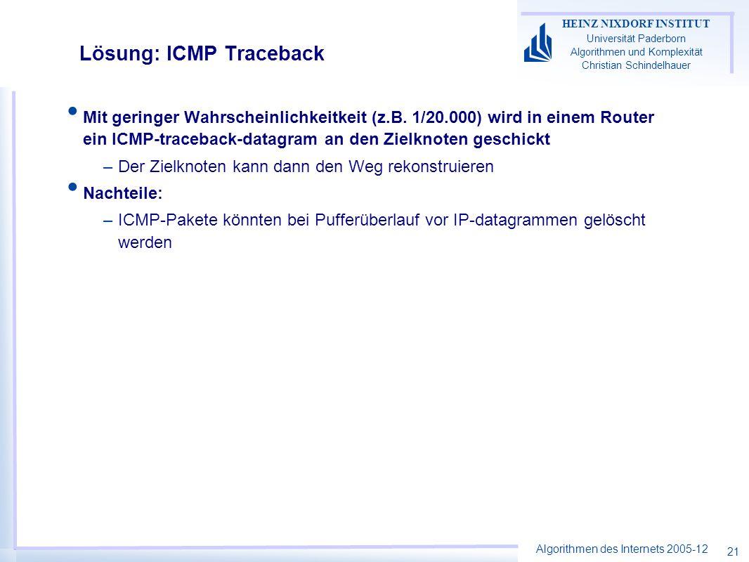 Algorithmen des Internets 2005-12 HEINZ NIXDORF INSTITUT Universität Paderborn Algorithmen und Komplexität Christian Schindelhauer 21 Lösung: ICMP Traceback Mit geringer Wahrscheinlichkeitkeit (z.B.