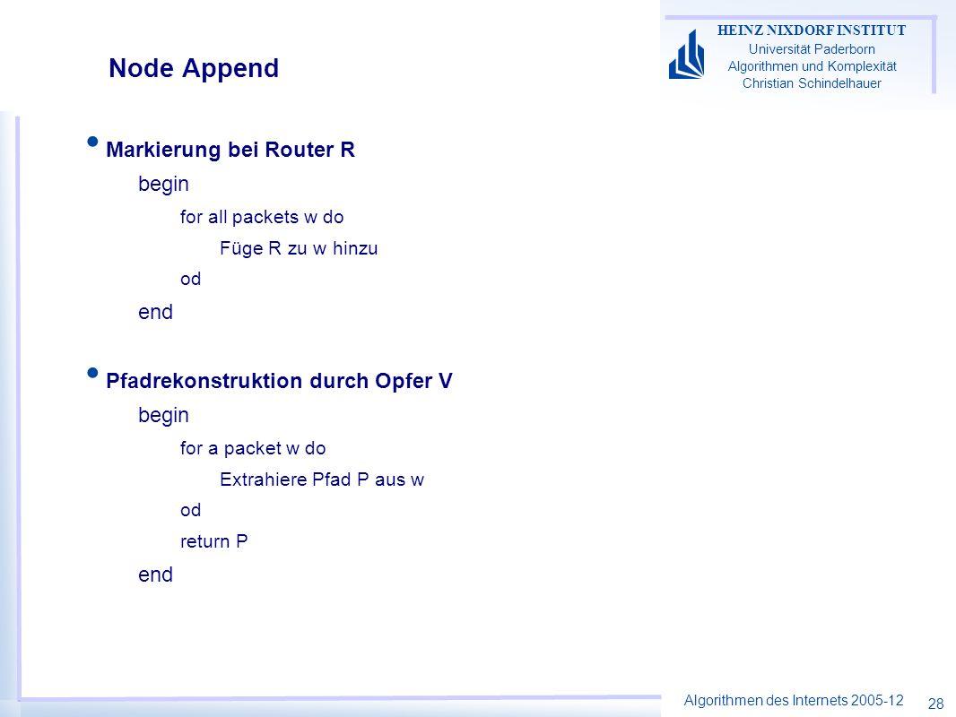 Algorithmen des Internets 2005-12 HEINZ NIXDORF INSTITUT Universität Paderborn Algorithmen und Komplexität Christian Schindelhauer 28 Node Append Mark