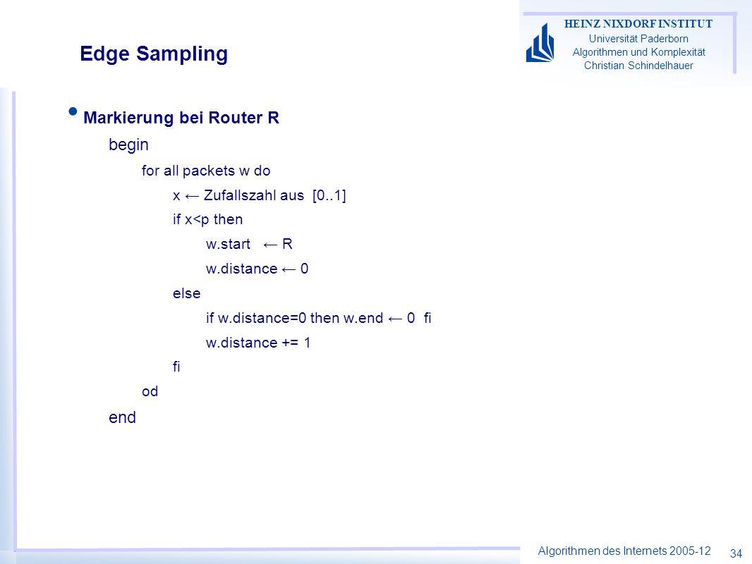Algorithmen des Internets 2005-12 HEINZ NIXDORF INSTITUT Universität Paderborn Algorithmen und Komplexität Christian Schindelhauer 34 Edge Sampling Markierung bei Router R begin for all packets w do x Zufallszahl aus [0..1] if x<p then w.start R w.distance 0 else if w.distance=0 then w.end 0 fi w.distance += 1 fi od end