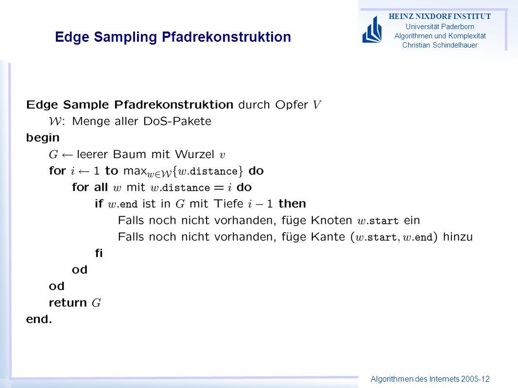 Algorithmen des Internets 2005-12 HEINZ NIXDORF INSTITUT Universität Paderborn Algorithmen und Komplexität Christian Schindelhauer Edge Sampling Pfadrekonstruktion
