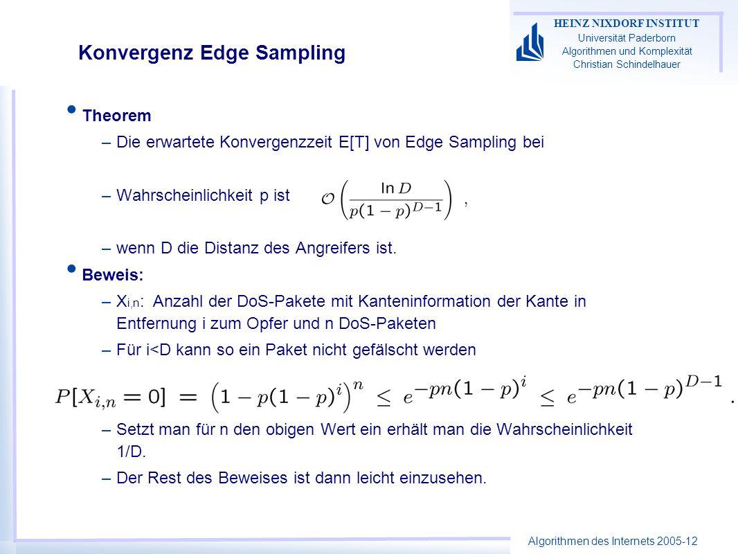 Algorithmen des Internets 2005-12 HEINZ NIXDORF INSTITUT Universität Paderborn Algorithmen und Komplexität Christian Schindelhauer Konvergenz Edge Sampling Theorem –Die erwartete Konvergenzzeit E[T] von Edge Sampling bei –Wahrscheinlichkeit p ist –wenn D die Distanz des Angreifers ist.