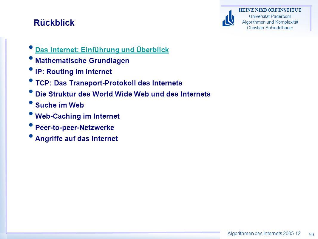 Algorithmen des Internets 2005-12 HEINZ NIXDORF INSTITUT Universität Paderborn Algorithmen und Komplexität Christian Schindelhauer 59 Rückblick Das In