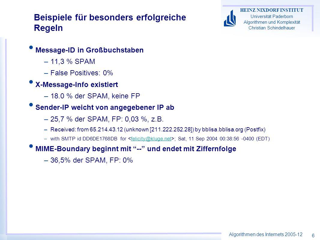 Algorithmen des Internets 2005-12 HEINZ NIXDORF INSTITUT Universität Paderborn Algorithmen und Komplexität Christian Schindelhauer 6 Beispiele für besonders erfolgreiche Regeln Message-ID in Großbuchstaben –11,3 % SPAM –False Positives: 0% X-Message-Info existiert –18.0 % der SPAM, keine FP Sender-IP weicht von angegebener IP ab –25,7 % der SPAM, FP: 0,03 %, z.B.