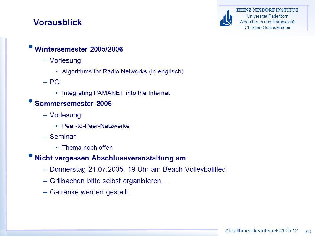 Algorithmen des Internets 2005-12 HEINZ NIXDORF INSTITUT Universität Paderborn Algorithmen und Komplexität Christian Schindelhauer 60 Vorausblick Wint
