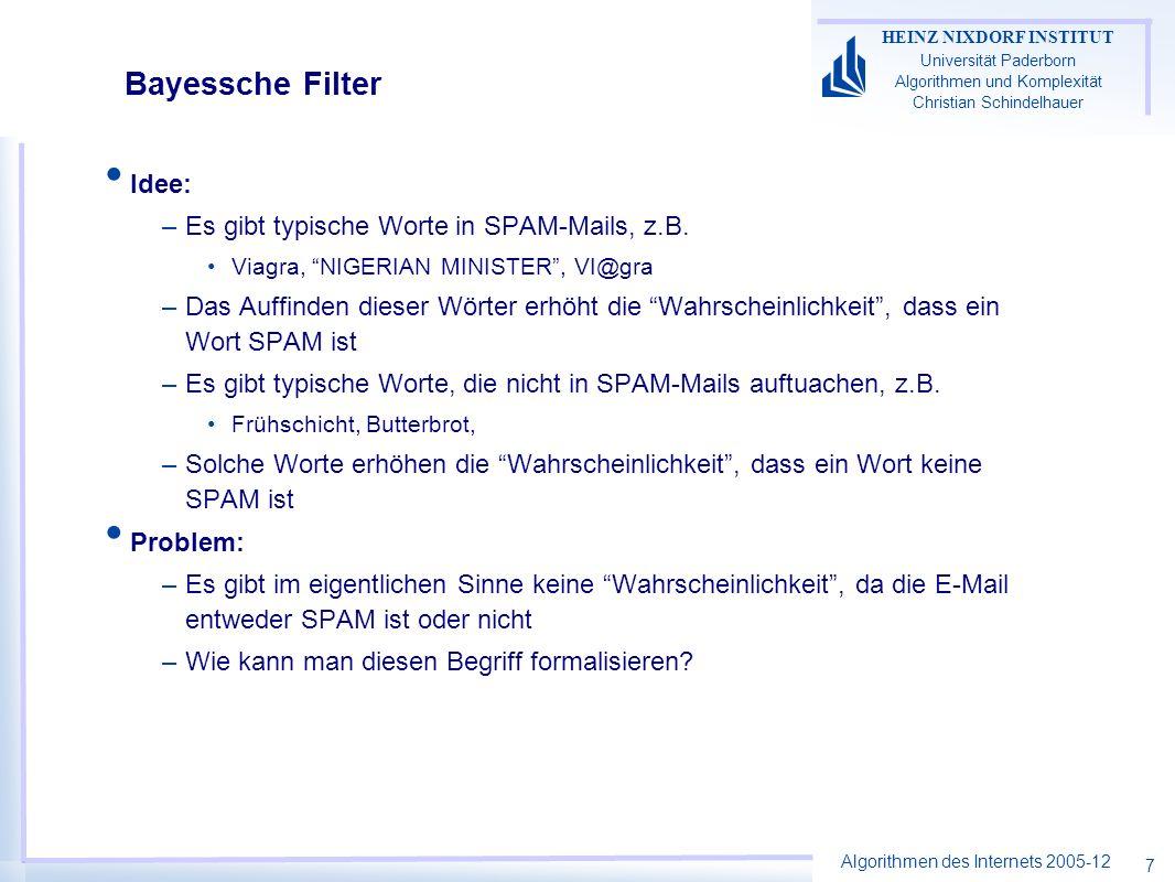 Algorithmen des Internets 2005-12 HEINZ NIXDORF INSTITUT Universität Paderborn Algorithmen und Komplexität Christian Schindelhauer 7 Bayessche Filter Idee: –Es gibt typische Worte in SPAM-Mails, z.B.
