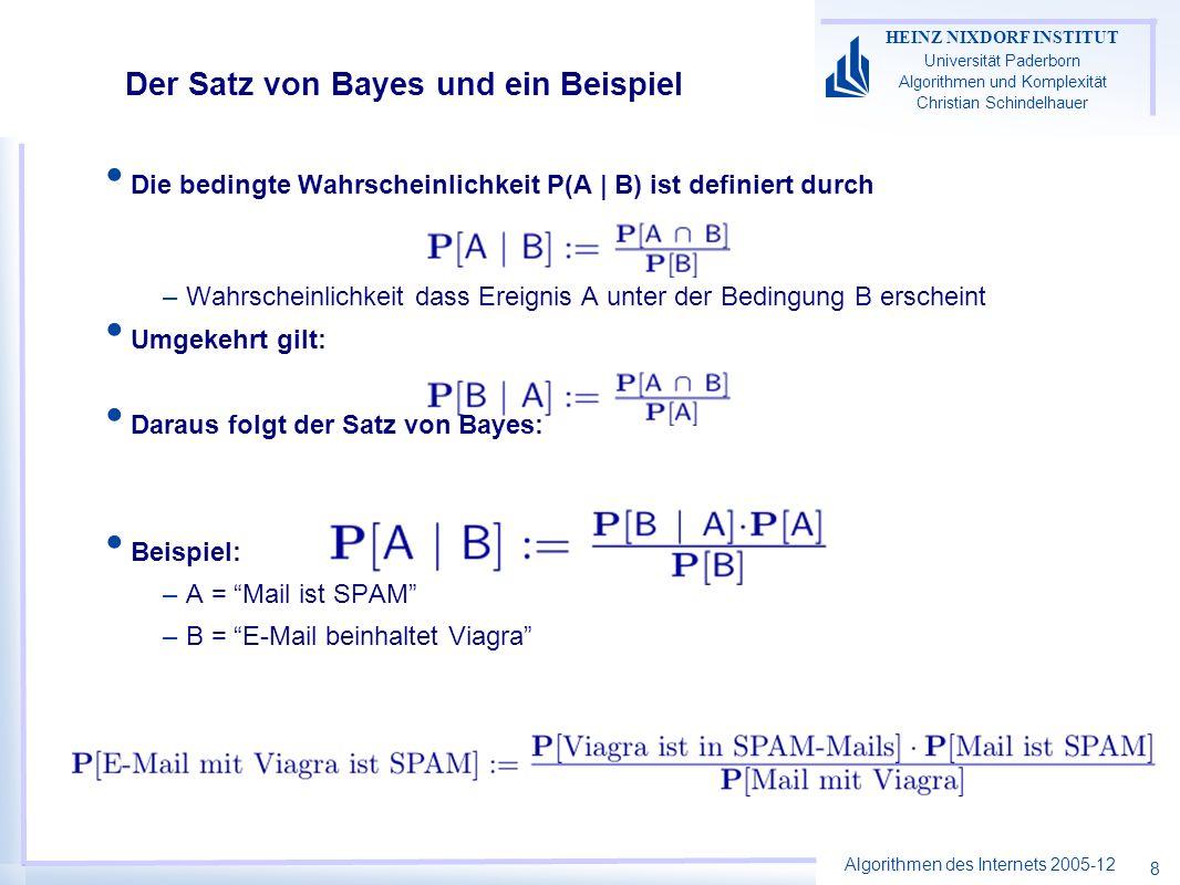 Algorithmen des Internets 2005-12 HEINZ NIXDORF INSTITUT Universität Paderborn Algorithmen und Komplexität Christian Schindelhauer 8 Der Satz von Bayes und ein Beispiel Die bedingte Wahrscheinlichkeit P(A | B) ist definiert durch –Wahrscheinlichkeit dass Ereignis A unter der Bedingung B erscheint Umgekehrt gilt: Daraus folgt der Satz von Bayes: Beispiel: –A = Mail ist SPAM –B = E-Mail beinhaltet Viagra