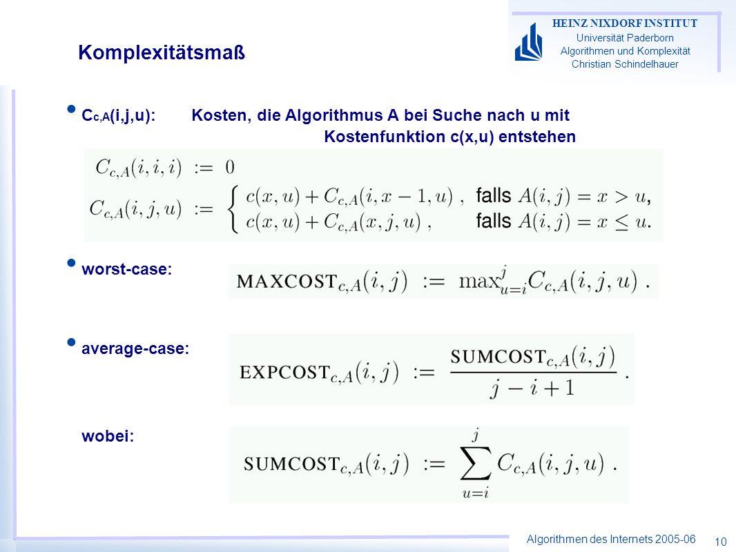 Algorithmen des Internets 2005-06 HEINZ NIXDORF INSTITUT Universität Paderborn Algorithmen und Komplexität Christian Schindelhauer 10 Komplexitätsmaß C c,A (i,j,u): Kosten, die Algorithmus A bei Suche nach u mit Kostenfunktion c(x,u) entstehen worst-case: average-case: wobei:
