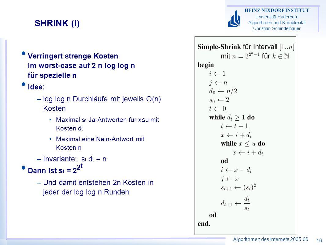 Algorithmen des Internets 2005-06 HEINZ NIXDORF INSTITUT Universität Paderborn Algorithmen und Komplexität Christian Schindelhauer 16 SHRINK (I) Verringert strenge Kosten im worst-case auf 2 n log log n für spezielle n Idee: –log log n Durchläufe mit jeweils O(n) Kosten Maximal s t Ja-Antworten für xu mit Kosten d t Maximal eine Nein-Antwort mit Kosten n –Invariante: s t d t = n Dann ist s t = 2 2 t –Und damit entstehen 2n Kosten in jeder der log log n Runden