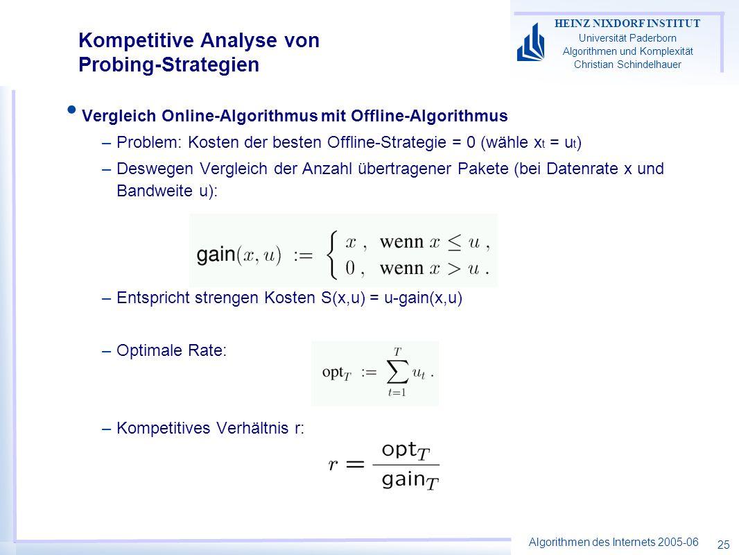 Algorithmen des Internets 2005-06 HEINZ NIXDORF INSTITUT Universität Paderborn Algorithmen und Komplexität Christian Schindelhauer 25 Vergleich Online-Algorithmus mit Offline-Algorithmus –Problem: Kosten der besten Offline-Strategie = 0 (wähle x t = u t ) –Deswegen Vergleich der Anzahl übertragener Pakete (bei Datenrate x und Bandweite u): –Entspricht strengen Kosten S(x,u) = u-gain(x,u) –Optimale Rate: –Kompetitives Verhältnis r: Kompetitive Analyse von Probing-Strategien