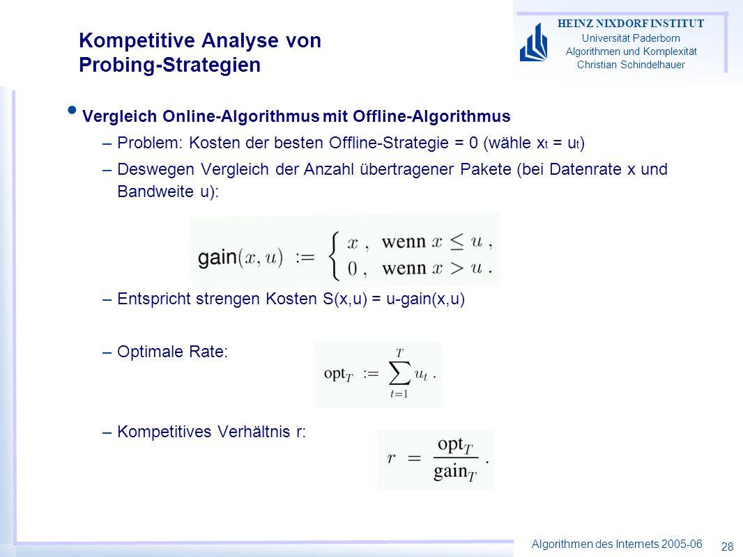 Algorithmen des Internets 2005-06 HEINZ NIXDORF INSTITUT Universität Paderborn Algorithmen und Komplexität Christian Schindelhauer 28 Kompetitive Analyse von Probing-Strategien Vergleich Online-Algorithmus mit Offline-Algorithmus –Problem: Kosten der besten Offline-Strategie = 0 (wähle x t = u t ) –Deswegen Vergleich der Anzahl übertragener Pakete (bei Datenrate x und Bandweite u): –Entspricht strengen Kosten S(x,u) = u-gain(x,u) –Optimale Rate: –Kompetitives Verhältnis r: