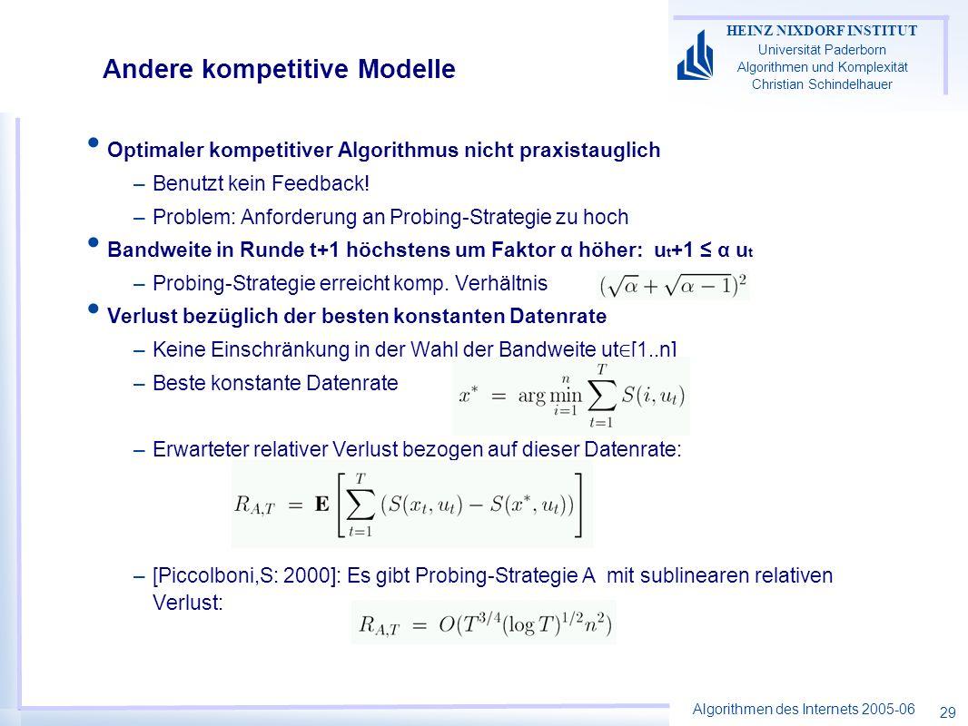 Algorithmen des Internets 2005-06 HEINZ NIXDORF INSTITUT Universität Paderborn Algorithmen und Komplexität Christian Schindelhauer 29 Andere kompetitive Modelle Optimaler kompetitiver Algorithmus nicht praxistauglich –Benutzt kein Feedback.