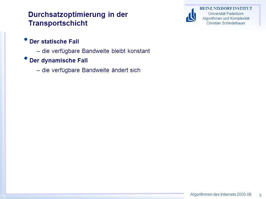 Algorithmen des Internets 2005-06 HEINZ NIXDORF INSTITUT Universität Paderborn Algorithmen und Komplexität Christian Schindelhauer 5 Der statische Fall –die verfügbare Bandweite bleibt konstant Der dynamische Fall –die verfügbare Bandweite ändert sich Durchsatzoptimierung in der Transportschicht