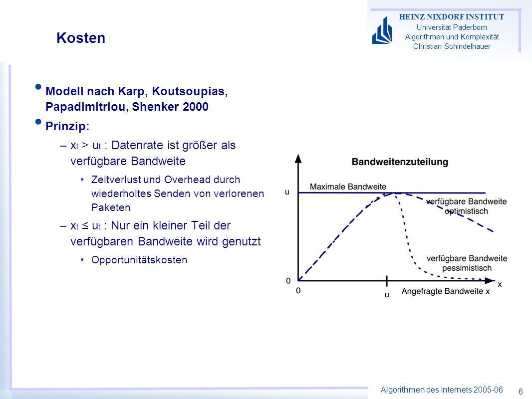 Algorithmen des Internets 2005-06 HEINZ NIXDORF INSTITUT Universität Paderborn Algorithmen und Komplexität Christian Schindelhauer 6 Kosten Modell nach Karp, Koutsoupias, Papadimitriou, Shenker 2000 Prinzip: –x t > u t : Datenrate ist größer als verfügbare Bandweite Zeitverlust und Overhead durch wiederholtes Senden von verlorenen Paketen –x t u t : Nur ein kleiner Teil der verfügbaren Bandweite wird genutzt Opportunitätskosten
