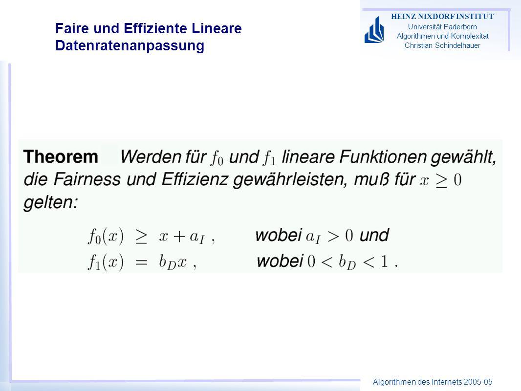 Algorithmen des Internets 2005-05 HEINZ NIXDORF INSTITUT Universität Paderborn Algorithmen und Komplexität Christian Schindelhauer Faire und Effiziente Lineare Datenratenanpassung