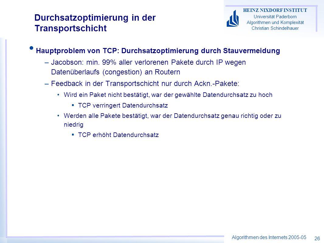 Algorithmen des Internets 2005-05 HEINZ NIXDORF INSTITUT Universität Paderborn Algorithmen und Komplexität Christian Schindelhauer 26 Durchsatzoptimierung in der Transportschicht Hauptproblem von TCP: Durchsatzoptimierung durch Stauvermeidung –Jacobson: min.