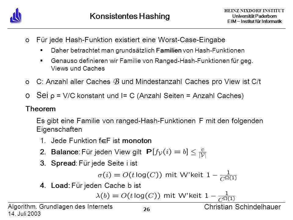 HEINZ NIXDORF INSTITUT Universität Paderborn EIM Institut für Informatik 26 Algorithm.