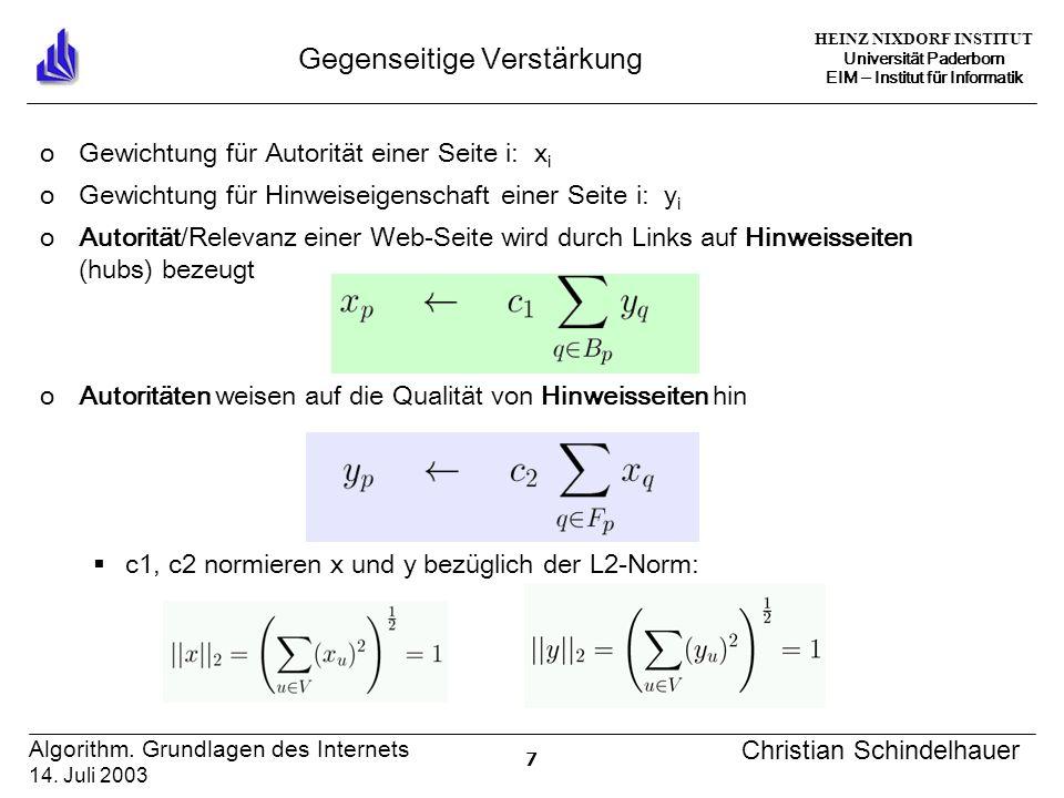 HEINZ NIXDORF INSTITUT Universität Paderborn EIM Institut für Informatik 7 Algorithm.