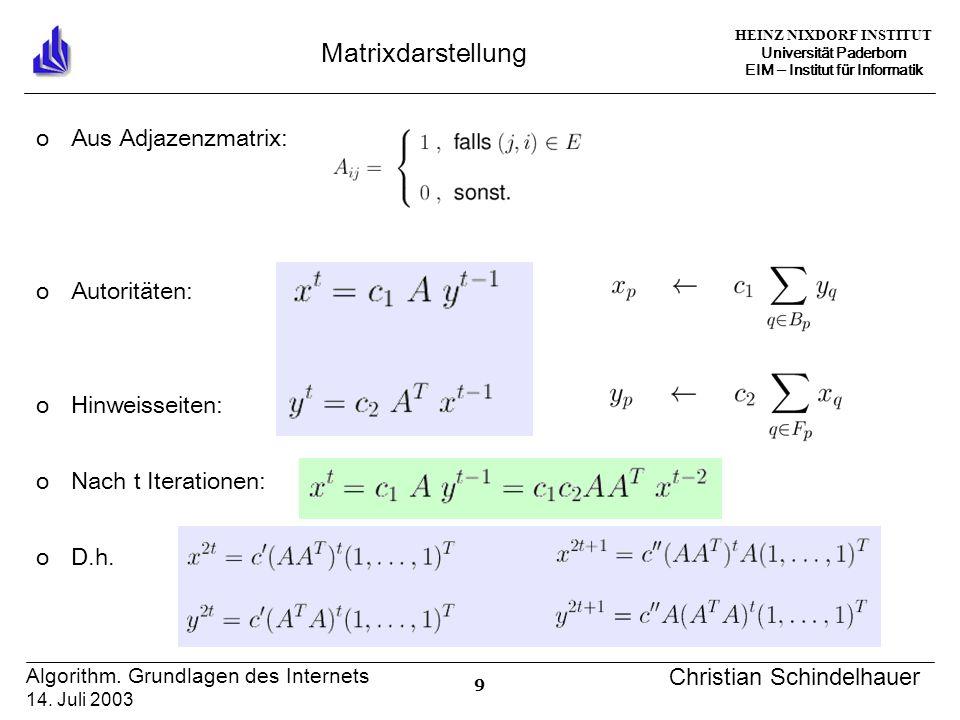 HEINZ NIXDORF INSTITUT Universität Paderborn EIM Institut für Informatik 9 Algorithm.