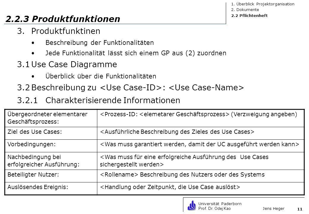 Universität Paderborn Prof. Dr. Odej Kao Jens Heger 11 2.2.3 Produktfunktionen 3.Produktfunktinen Beschreibung der Funktionalitäten Jede Funktionalitä