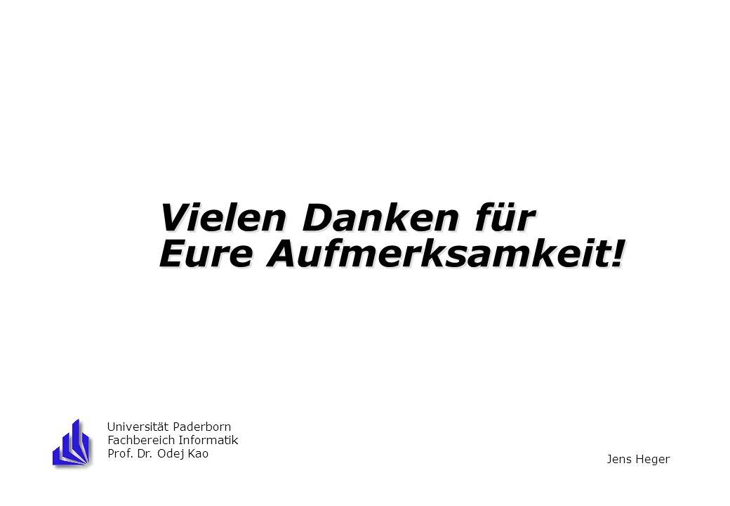 Vielen Danken für Eure Aufmerksamkeit! Universität Paderborn Fachbereich Informatik Prof. Dr. Odej Kao Jens Heger