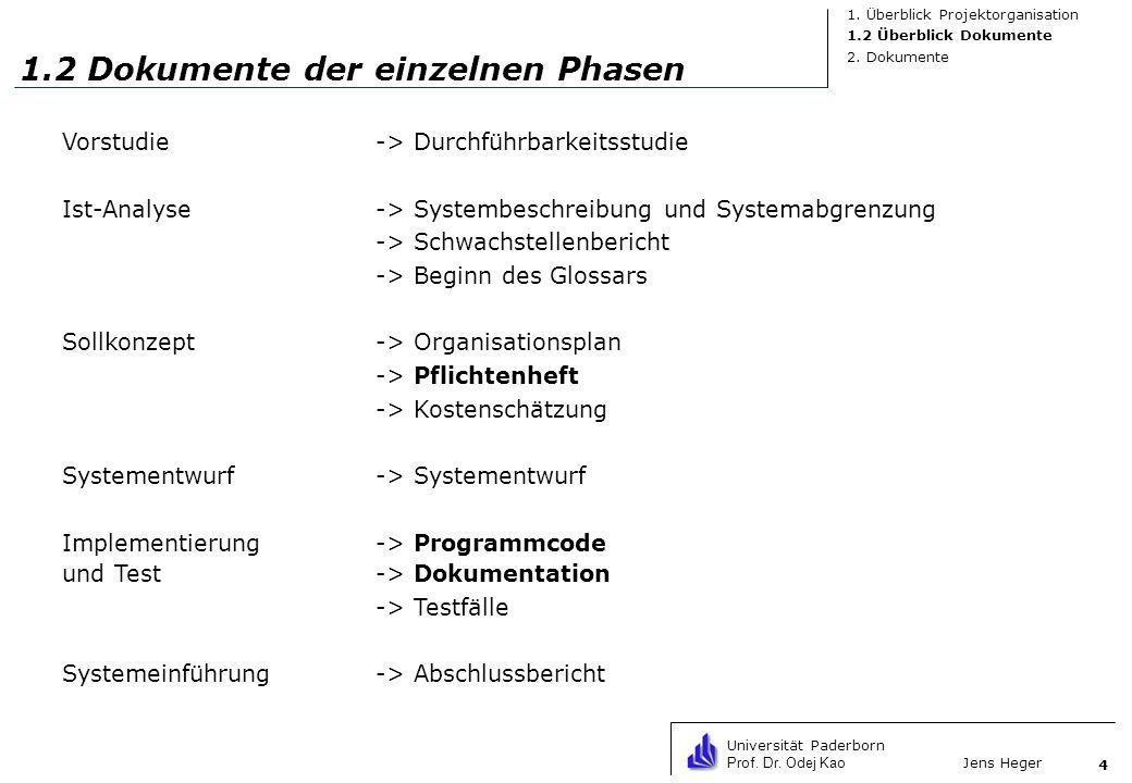 Universität Paderborn Prof. Dr. Odej Kao Jens Heger 4 1.2 Dokumente der einzelnen Phasen Vorstudie-> Durchführbarkeitsstudie Ist-Analyse-> Systembesch