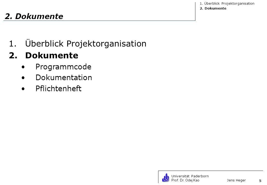 Universität Paderborn Prof. Dr. Odej Kao Jens Heger 5 2. Dokumente 1.Überblick Projektorganisation 2.Dokumente Programmcode Dokumentation Pflichtenhef