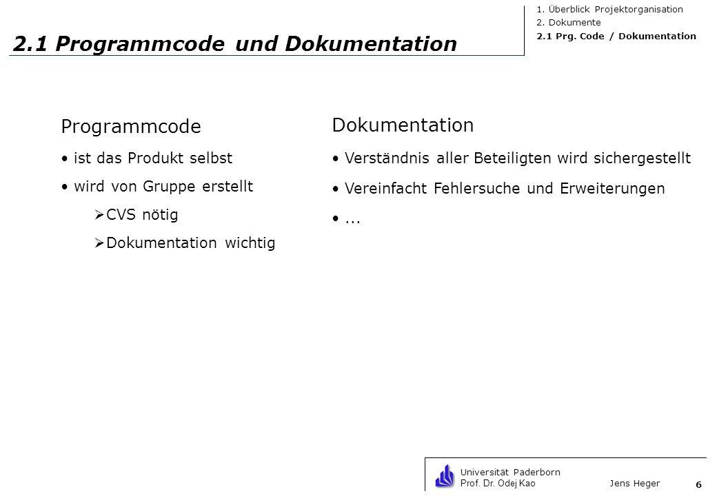 Universität Paderborn Prof. Dr. Odej Kao Jens Heger 6 2.1 Programmcode und Dokumentation Programmcode ist das Produkt selbst wird von Gruppe erstellt