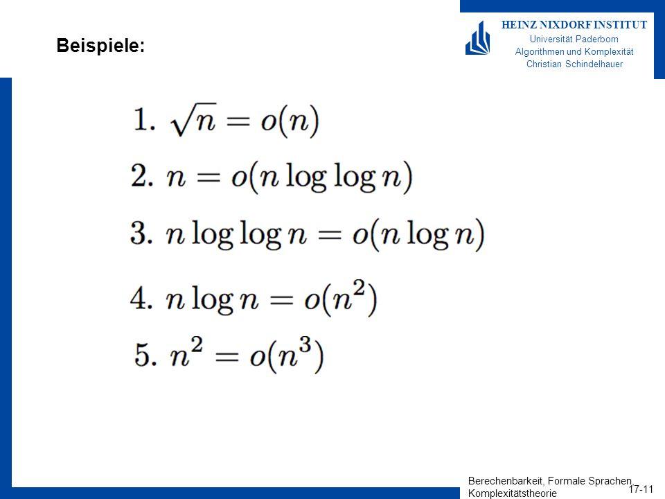 Berechenbarkeit, Formale Sprachen, Komplexitätstheorie 17-11 HEINZ NIXDORF INSTITUT Universität Paderborn Algorithmen und Komplexität Christian Schind