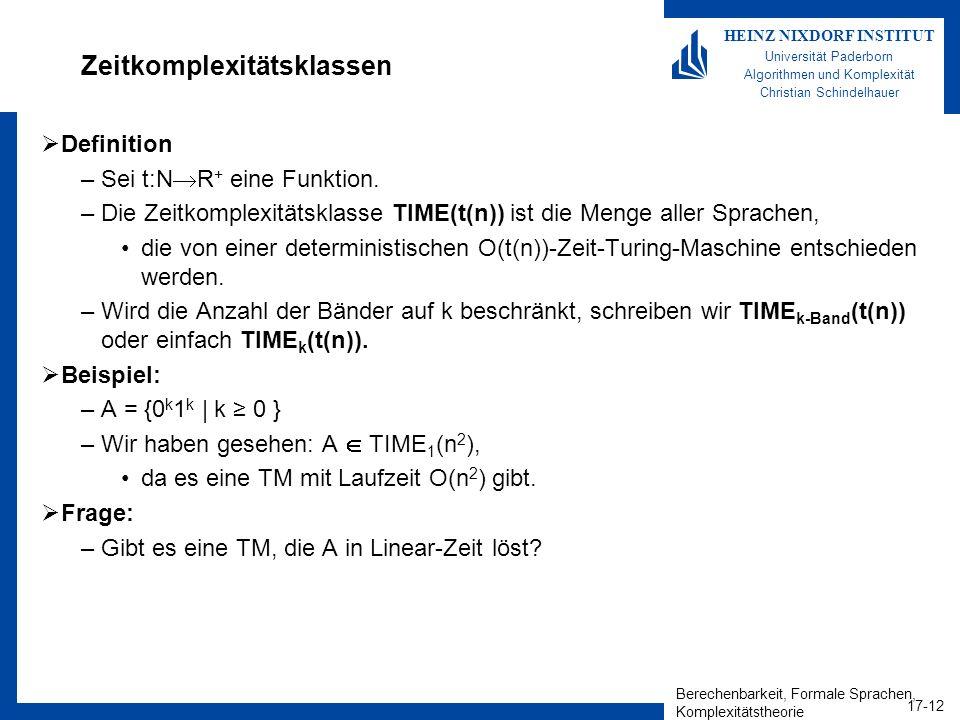 Berechenbarkeit, Formale Sprachen, Komplexitätstheorie 17-12 HEINZ NIXDORF INSTITUT Universität Paderborn Algorithmen und Komplexität Christian Schind